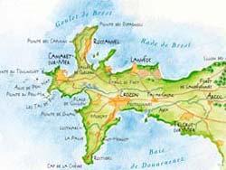 La carte des locations de vacances - crozon